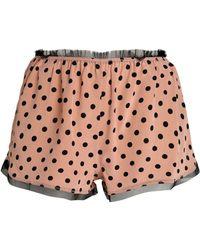 RED Valentino - Polka-dot Fringe-trimmed Silk Pyjama Shorts - Lyst