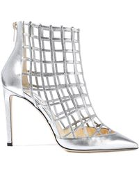 b00668653cc Jimmy Choo - Woman Cutout Metallic Leather Ankle Boots Silver - Lyst