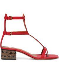 Valentino - Embellished Leathe Sandals - Lyst