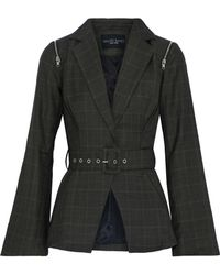W118 by Walter Baker - Elsa Belted Checked Woven Blazer - Lyst