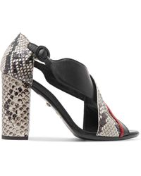 Just Cavalli   Snake-effect Leather Sandals   Lyst