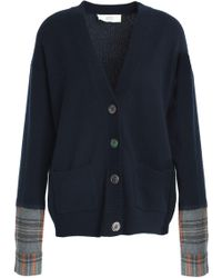 Vanessa Bruno Athé - Woman Panelled Checked Wool-blend Cardigan Navy - Lyst