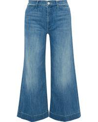 Mother - Swooner Roller Crop High-rise Wide-leg Jeans Mid Denim - Lyst