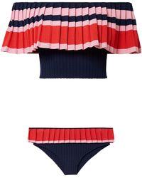 Tabula Rasa - Woman Off-the-shoulder Pleated Striped Bikini Multicolour - Lyst