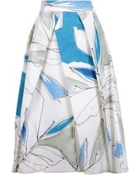 MILLY - Clarisa Pleated Printed Cotton-blend Midi Skirt - Lyst