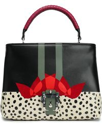 Paula Cademartori - Woman Leather, Suede And Snakeskin Shoulder Bag Black - Lyst