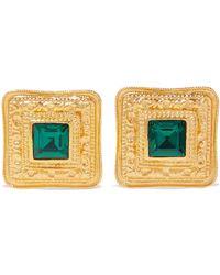 Ben-Amun - 24-karat Gold-plated Crystal Clip Earrings - Lyst