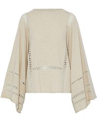 Chloé - Crochet-trimmed Wool And Cashmere-blend Sweater - Lyst