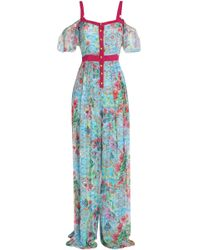 Matthew Williamson - Cold-shoulder Printed Chiffon Jumpsuit - Lyst
