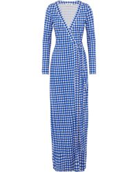 Diane von Furstenberg - New Julian Gingham Silk-jersey Maxi Wrap Dress - Lyst