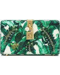 Dolce & Gabbana - Dolce Crystal-embellished Printed Jacquard Box Clutch - Lyst