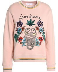 Sandro - Love Karma Embroidered French Cotton-blend Terry Sweatshirt Pastel Pink - Lyst