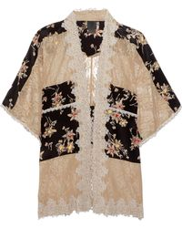 Anna Sui | Lace-paneled Printed Silk Crepe De Chine Jacket | Lyst