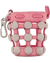 Alexander Wang - Studded Leather And Suede Keychain Baby Pink - Lyst