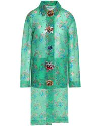 Christopher Kane - Woman Embellished Floral-print Woven Coat Bright Green - Lyst