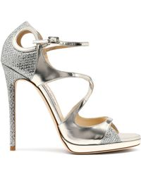 Jimmy Choo - Fancie Cutout Glittered Mesh And Mirrored-leather Sandals - Lyst