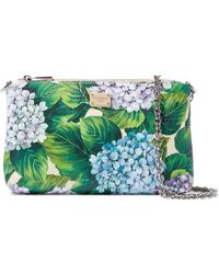 Dolce & Gabbana - Woman Floral-print Textured-leather Clutch Green - Lyst