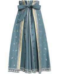 Temperley London - Poppy Field Embroidered Cotton-faille Midi Skirt Grey Green - Lyst