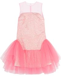 Delpozo | Tulle And Jacquard Mini Dress | Lyst