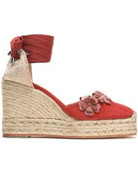 Castaner - Woven And Floral-appliquéd Suede Wedge Espadrilles Tomato Red - Lyst