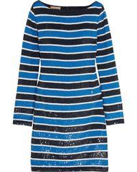 Michael Kors - Striped Sequined Silk Mini Dress - Lyst