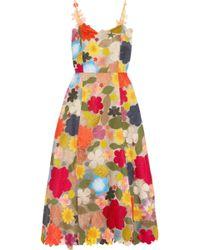Rosie Assoulin - Floral-appliquéd Embroidered Silk-organza Dress - Lyst