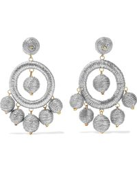 Kenneth Jay Lane - Silver And Gold-tone Cord Earrings - Lyst