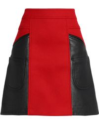 COACH - Flared Leather And Brushed Wool-blend Mini Skirt - Lyst