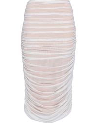 Norma Kamali - Woman Ruched Stretch-mesh Pencil Skirt White - Lyst