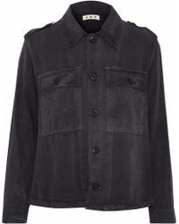 AMO - Ruffled Brushed-twill Jacket - Lyst