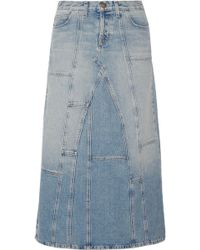 Current/Elliott - The Diy Patchwork Denim Maxi Skirt - Lyst