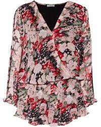 Joie - Ellar Lace-trimmed Wrap-effect Printed Silk Crepe De Chine Playsuit Antique Rose Size Xs - Lyst