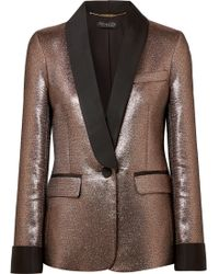 Rachel Zoe - Woman Metallic Lamé Blazer Rose Gold - Lyst