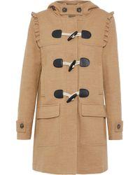 Joie - Karinka Ruffle-trimmed Wool-blend Hooded Coat - Lyst
