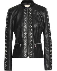 MICHAEL Michael Kors - Eyelet-embellished Leather Jacket - Lyst