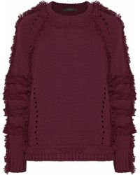 Belstaff - Woman Karli Fringed Wool, Silk And Cashmere-blend Sweater Claret Size Xs - Lyst