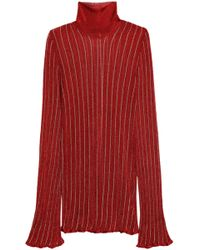 Ellery - Urchin Striped Metallic Ribbed-knit Turtleneck Jumper - Lyst