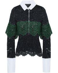 Marissa Webb - Woman Justine Piqué-paneled Corded Lace Shirt Midnight Blue - Lyst