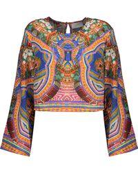 Camilla - Cropped Printed Silk-chiffon Top - Lyst