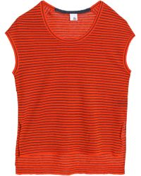 Iris & Ink - Striped Linen-blend Top Tomato Red - Lyst