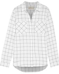 Current/Elliott - The Double Pocket Boyfriend Checked Linen And Cotton-blend Shirt - Lyst