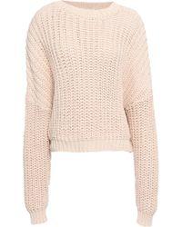 407533b6fca Zimmermann - Woman Ribbed-knit Cotton Jumper Peach - Lyst