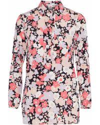 Agnona - Ruffle-trimmed Floral-print Stretch-silk Shirt - Lyst