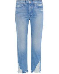 3x1 - Woman Higher Ground Distressed High-rise Straight-leg Jeans Light Denim - Lyst