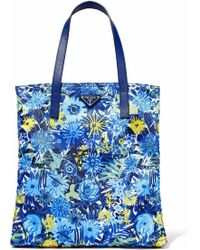 Prada - Textured Leather-trimmed Floral-print Shell Tote Bright Blue - Lyst