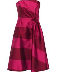 Carolina Herrera - Strapless Bow-embellished Striped Satin Dress - Lyst