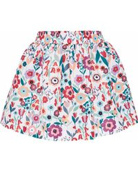 RED Valentino - Gathered Floral-print Faille Mini Skirt - Lyst