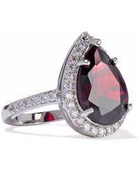 CZ by Kenneth Jay Lane - Woman Silver-tone Crystal Ring Silver - Lyst