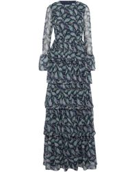 Mikael Aghal - Tiered Ruffled Printed Chiffon Gown - Lyst