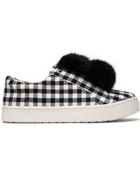Sam Edelman - Pompom-embellished Gingham Canvas Trainers - Lyst